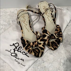 Alice + Olivia Leopard Sandals with ankle strap